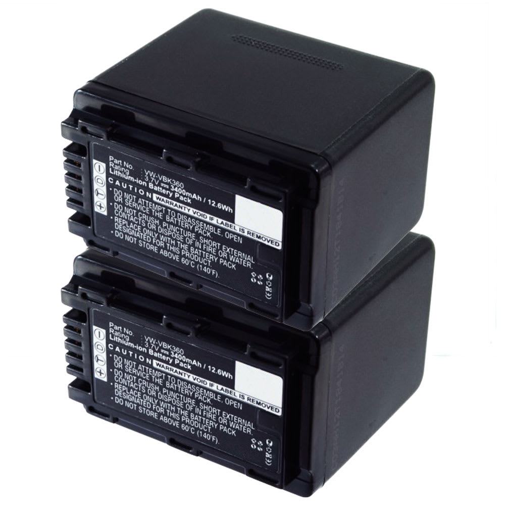 2x Batterie pour appareil photo Panasonic HDC-SD40 -SD80 -SD66 -SD99 -SD60 -SD90 -HS60 -SDX1 SDR-S50 -S70 -H85 HC-V10 - VW-VBK180 VW-VBK360 VW-VBL090 3400mAh Batterie Remplacement