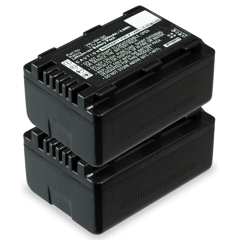 2x Batterie pour appareil photo Panasonic HC-V727 -V100 HC-VX878 HDC-SD90 -SD40 -SD60 HDC-SDX1 HDC-HS60 HDC-TM60 SDR-H85 SDR-S50 -S70 - VW-VBK180 -VBK360 VW-VBL090 1500mAh Batterie Remplacement
