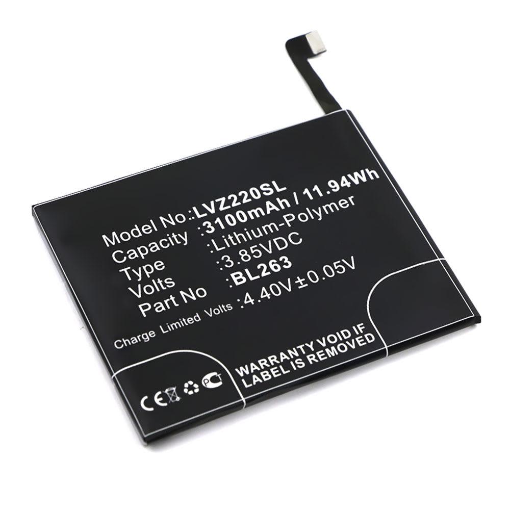 Batterie pour téléphone portableLenovo ZUK Z2 Pro - BL263, 3100mAh interne neuve , kit de remplacement / rechange