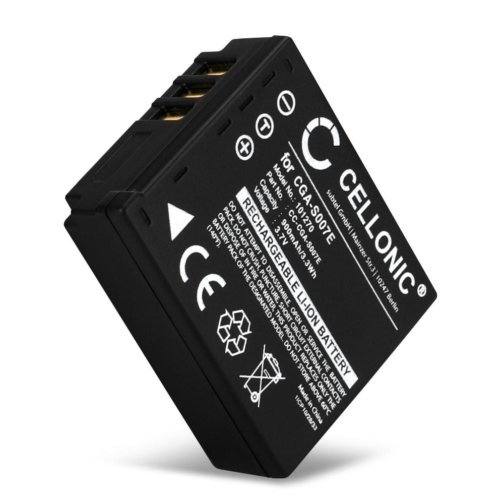 Bateria para camaras Panasonic Lumix DMC-TZ5 DMC-TZ5 DMC-TZ3 DMC-TZ1 DMC-TZ4 DMC-TZ2 - CGA-S007,CGR-S007,DMW-BCD10 900mAh Batería de repuesto