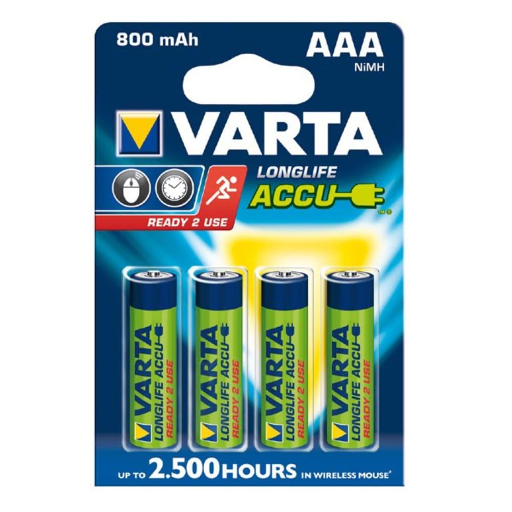 Akku-Batterien AAA Varta Long Life Accu Varta 56703 (800mAh) 4x