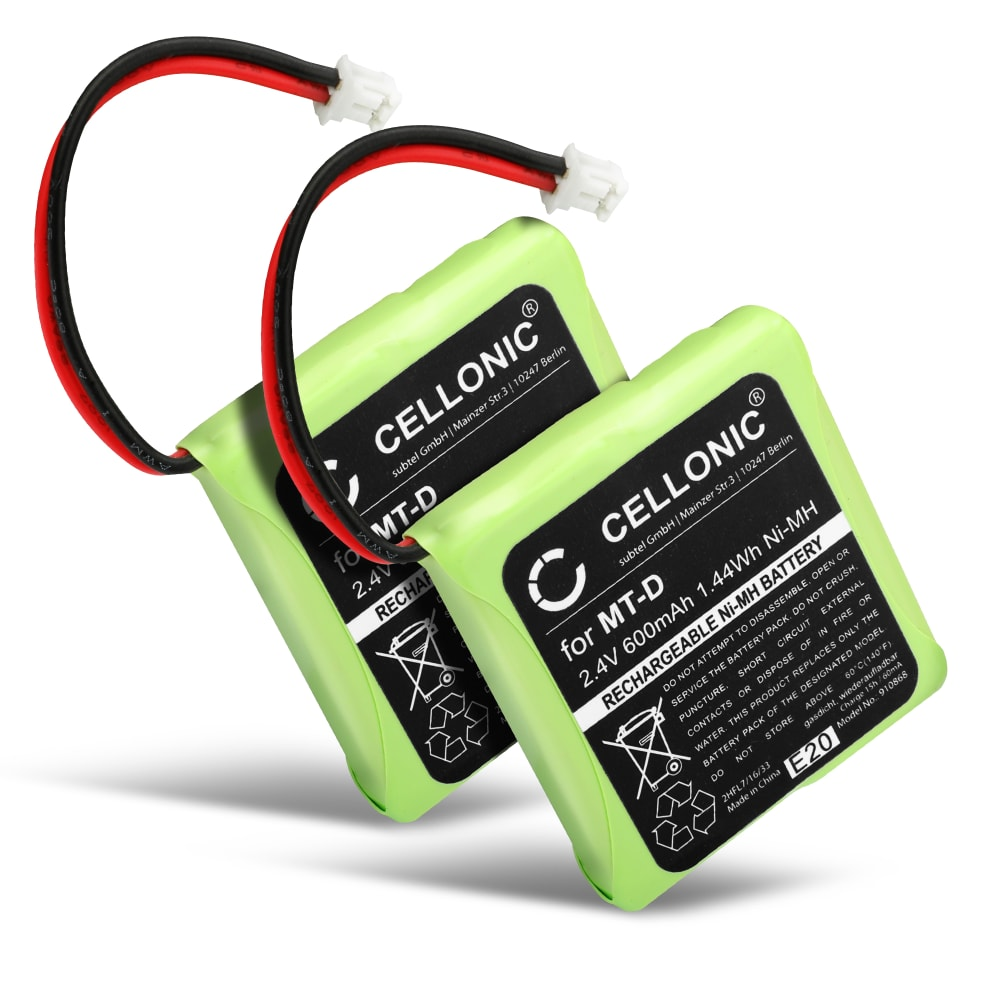 2x Ersatz Akku für AVM Fritz Fon MT-D, Audioline Slim DECT 500 502 580 582, Telekom Sinus 201 / A201, Doro TH50 TH60 - Telefonakku 5M702BMX,GP0735,GP0747,GP0827 600mAh Ersatzakku, Batterie
