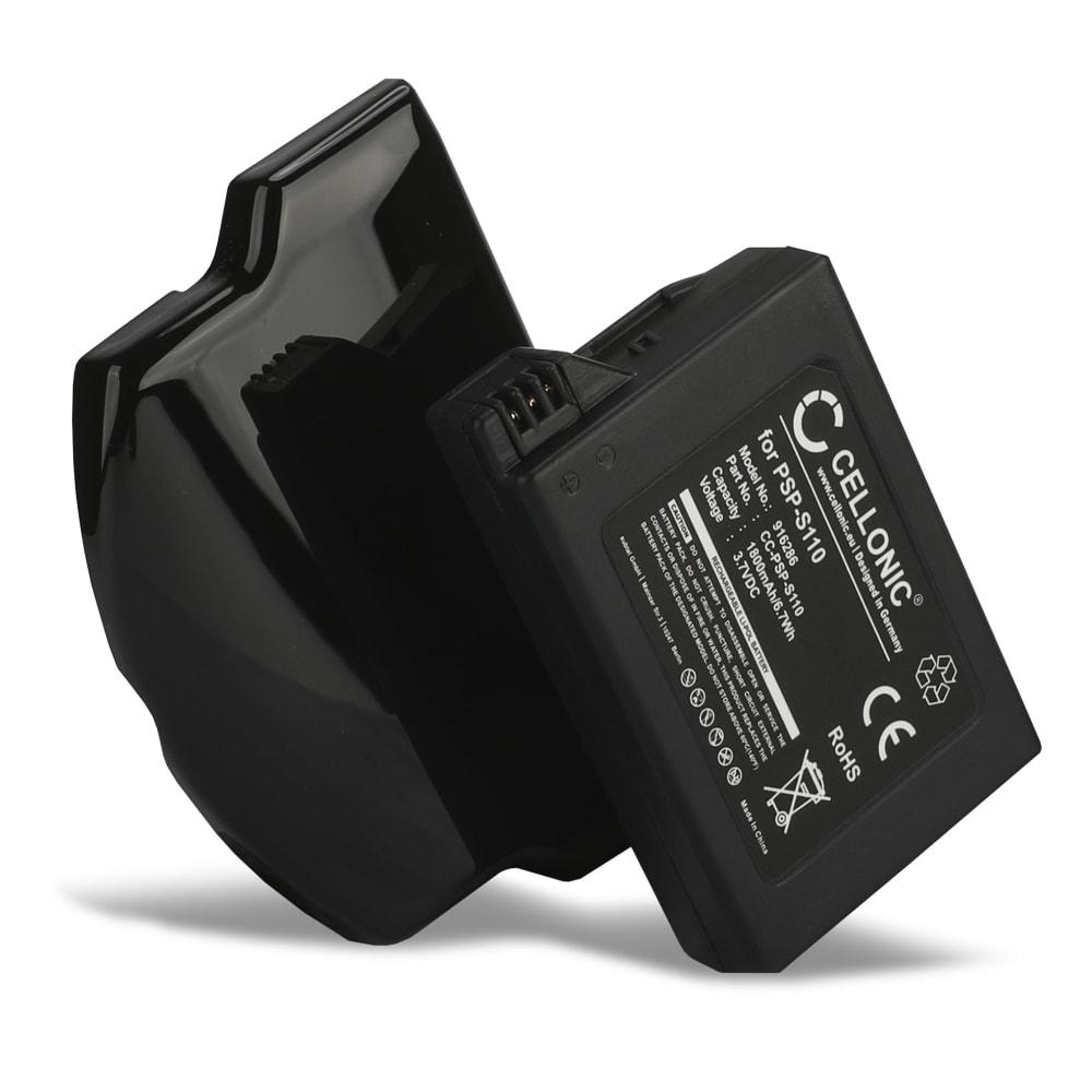 XL Batterie pour Sony PSP Slim & Lite (PSP-2000 / PSP-2004) / PSP Brite (PSP-3000 / PSP-3004) - PSP-S110 (1800mAh) Batterie de remplacement + Couvercle de boîtier supplémentaire
