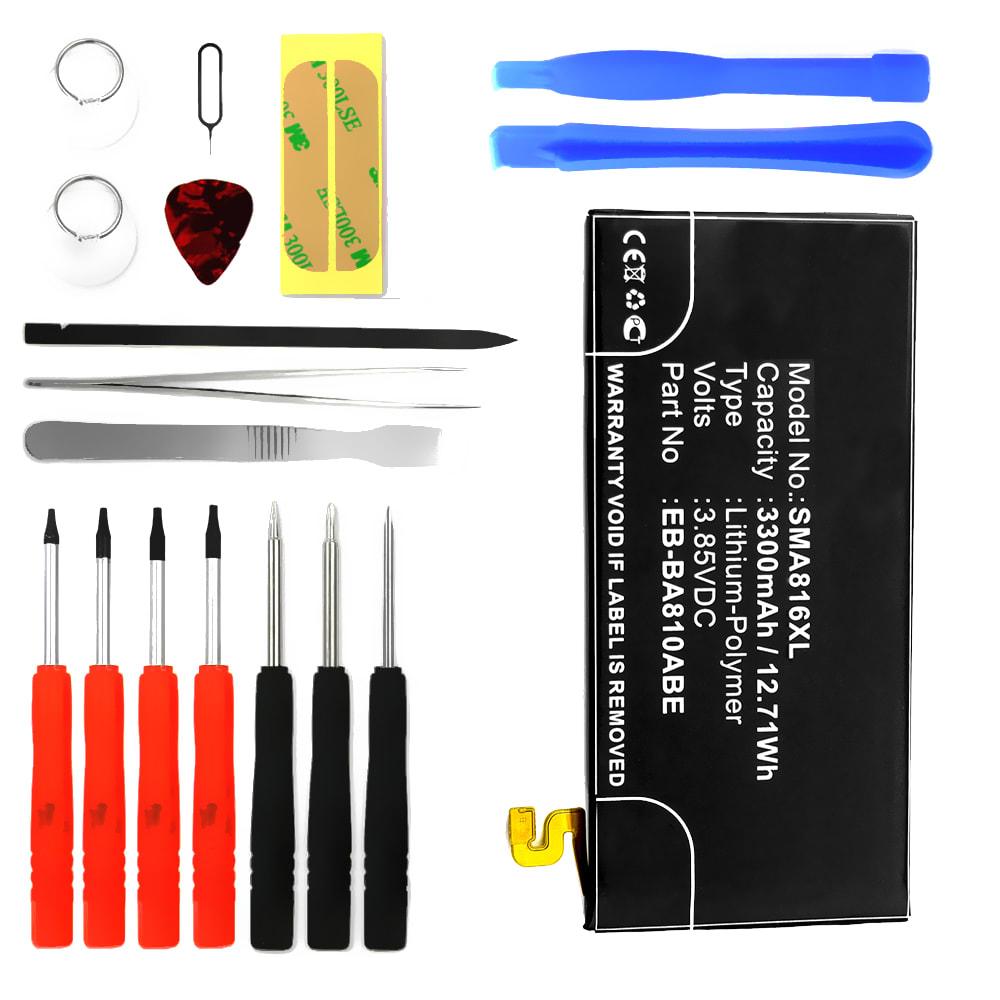 Batterie pour téléphone portableSamsung Galaxy A8 (2016 - SM-A810) - EB-BA810ABE, 3300mAh interne neuve + Set de micro vissage, kit de remplacement / rechange