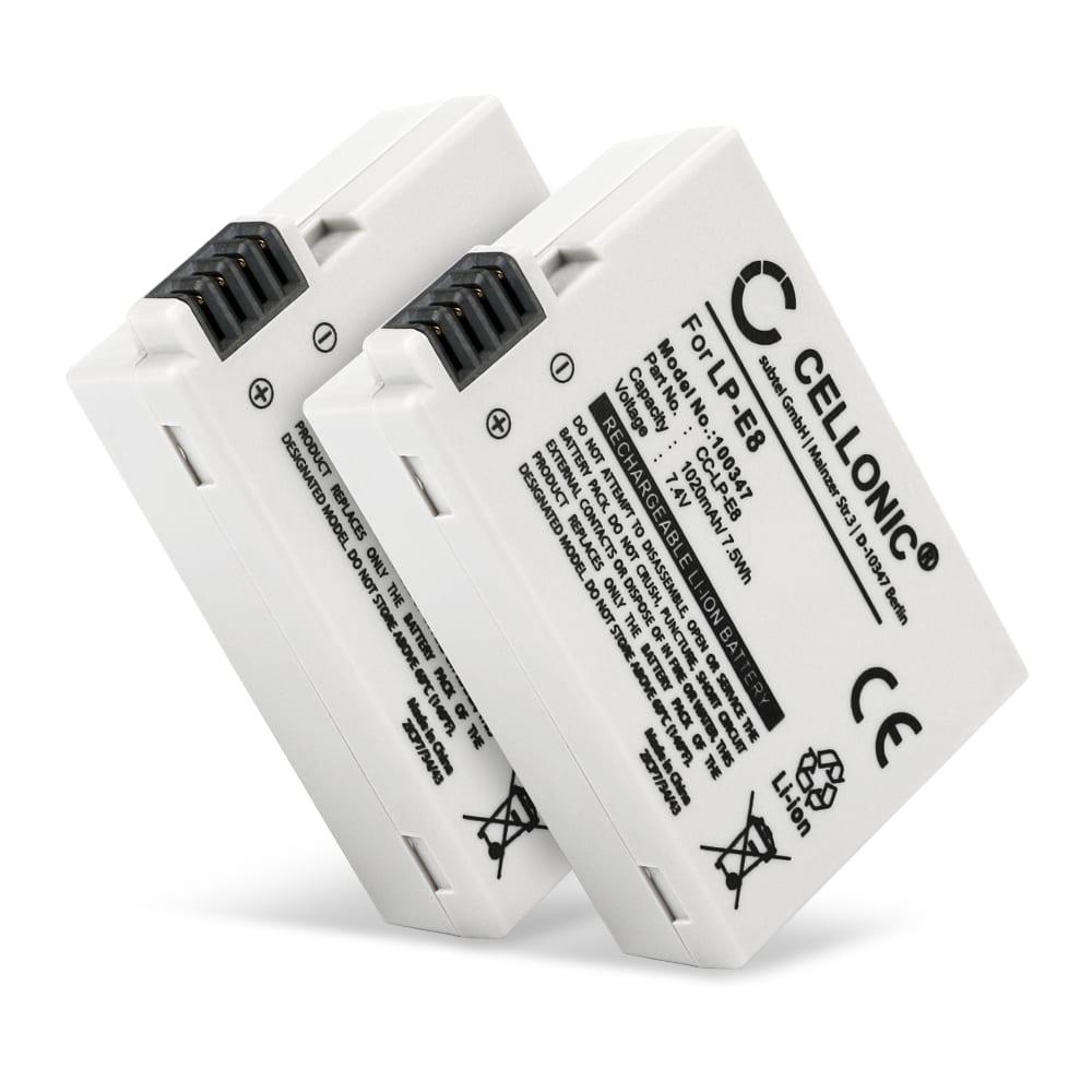 2x Batterie pour appareil photo Canon EOS 600D EOS 550D EOS 650D EOS 700D EOS Kiss X4 EOS X5 EOS X6i EOS Rebel T2i EOS T3i EOS T4i EOS T5i - LP-E8 1020mAh LP-E8 Batterie Remplacement