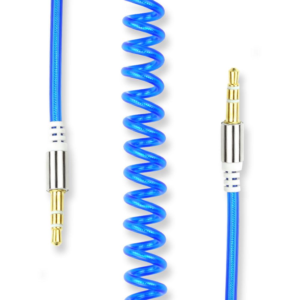Câble Auxiliaire de 3.5mm Câble Jack Audio en Spirale, Bleu, 1.8m | Câble Bouclé Jack To Jack