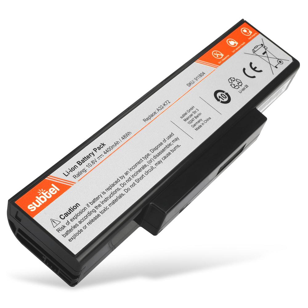 subtel® Laptop Battery for Asus A72 / A73 / K72 / K73 / N71 / N73 / X73 / X77 A32-K72 / A32-N71 4400mAh Notebook Replacement Battery Power Bank