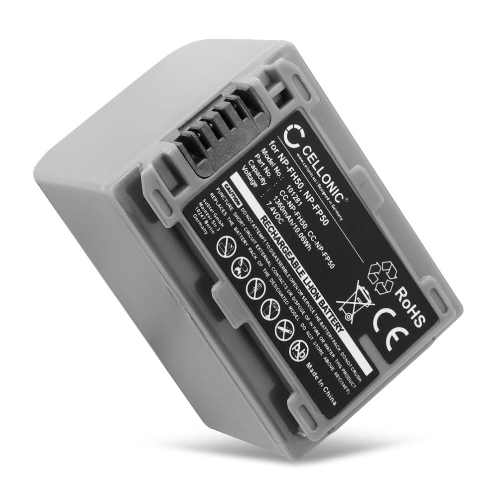 NP-FP70-FP50 NP-FH50-FH70 Batteri för Sony HDR-HC3 DCR-HC23 HC26 HC28 DCR-HC36 HC30 DCR-HC44 HC40 HC42 DCR-HC65 DCR-HC85 DCR-HC94, 1360mAh Kamera-ersättningsbatterimed lång batteritid