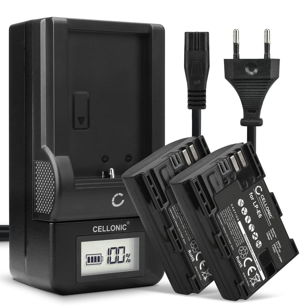 2x Batterie pour appareil photo Canon EOS 5D Mark II III IV 5DS R 60D 60Da 6D Mark II 70D 7D Mark II 80D EOS R WFT-E7 XC10 XC15 - LP-E6 LP-E6N 2000mAh + Chargeur LC-E6 CBC-E6 Batterie Remplacement