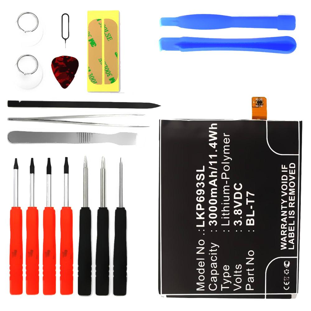 Batterie pour téléphone portableLG G2 - BL-T7, 3000mAh interne neuve + Set de micro vissage, kit de remplacement / rechange