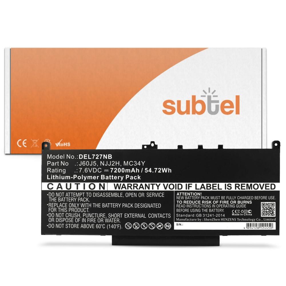 Batterie de remplacement pour ordinateur portable Latitude 12 E7270 / 14 E7470 - J60J5 7200mAh