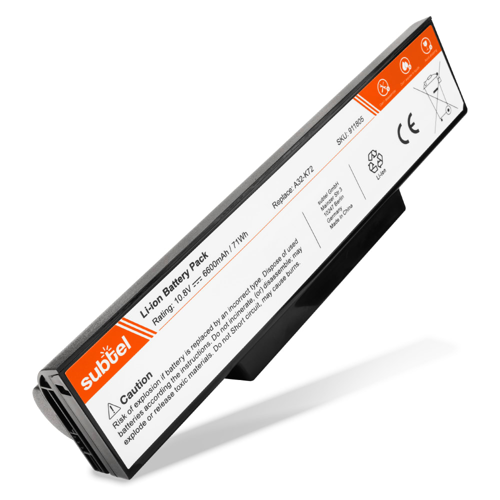 Batería para Asus A72 / A73 / K72 / K73 / N71 / N73 / X73 / X77 - A32-K72 (6600mAh) Batería de Reemplazo