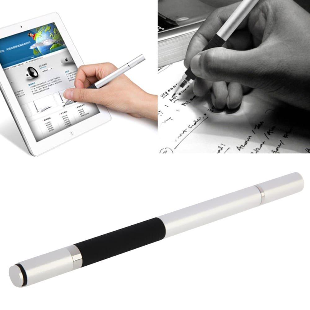2in1 Stylet / Design Touchpen pour Smartphone, eReader Tablet & Co. incl. stylo / argent