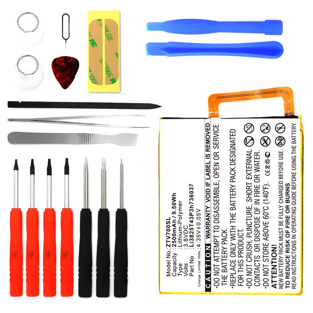 Batterie pour téléphone portableZTE Blade V7 / V7 Lite - Li3825T43P3h736037, 2500mAh interne neuve + Set de micro vissage, kit de remplacement / rechange
