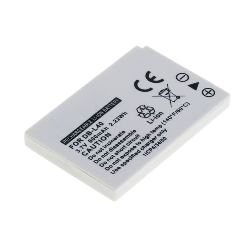 DB-L40 DB-L40A DB-L40AU Battery for Sanyo Xacti DMX-HD1 DMX-HD2 DMX-HD800 VPC-HD1 VPC-HD2 VPC-HD700 VPC-HD800 600mAh Digital Camera Battery Replacement Spare Battery Backup Power Pack