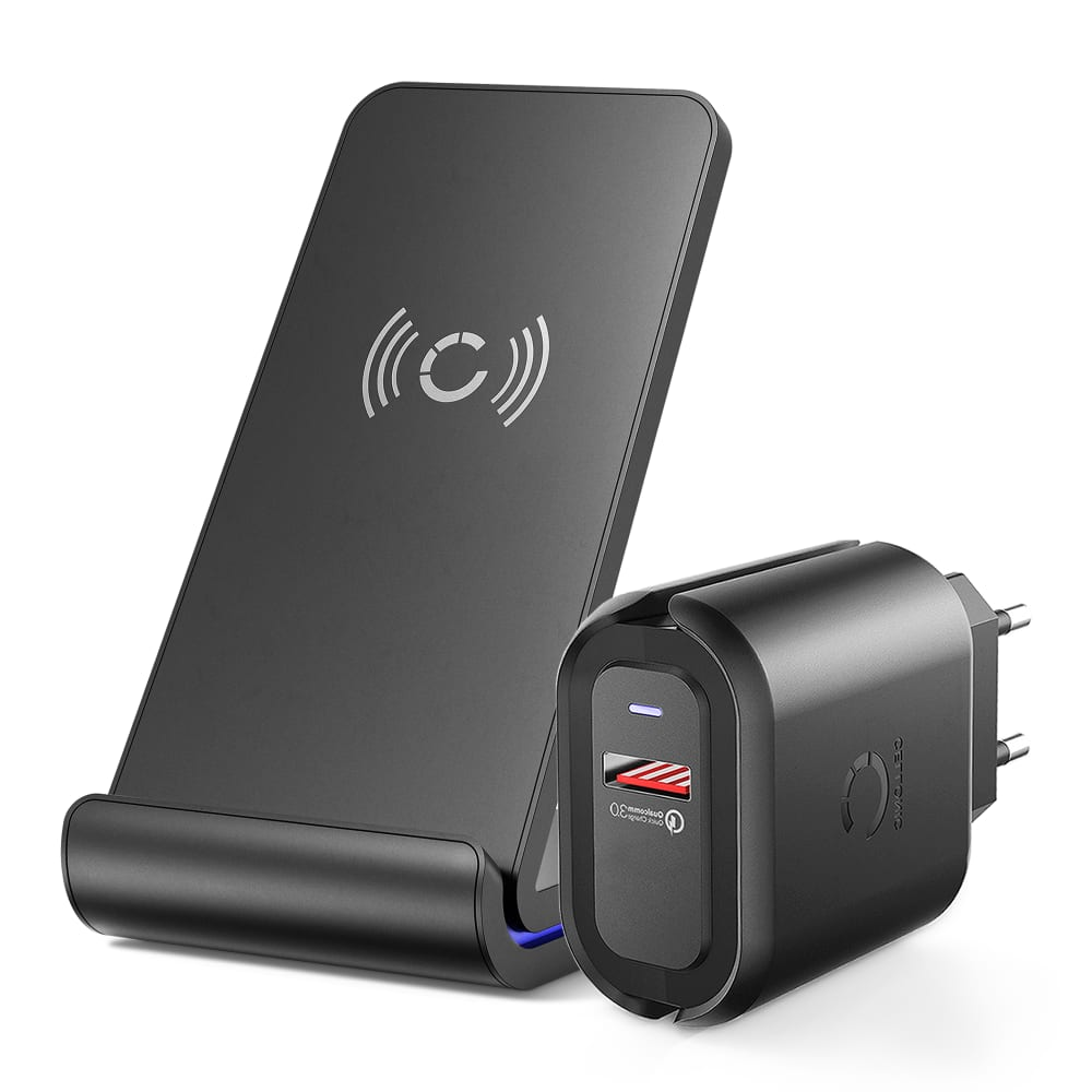 Chargeur sans fil rapide pour les appareils compatibles Qi Huawei P30 Pro, Mate 20 Pro / Apple iPhone 11 / Samsung Galaxy S10, Note 10 / Google Pixel 3 / LG G6 Wireless Charger + QC3.0 Adapter