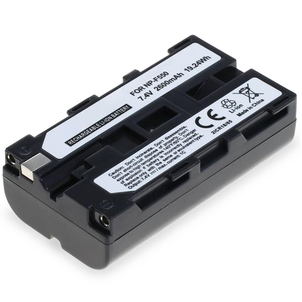 NP-F550 -F330 -F750 Batteri för Sony HDV-Z1 DCR-VX2100e DCR-TRV9 DSR-PD150 -PD170 HDR-FX7e -FX1 GV-D200 HDR-FX1000e, 2600mAh Kamera-ersättningsbatterimed lång batteritid