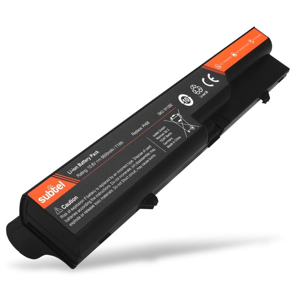 subtel® Laptop Battery for HP ProBook 4320s 4325s 4420s 4421s 4425s 4520s 4525s HP 4320t 420 425 620 625 PH09 6600mAh / 71.28Wh Notebook Replacement Battery Power Bank
