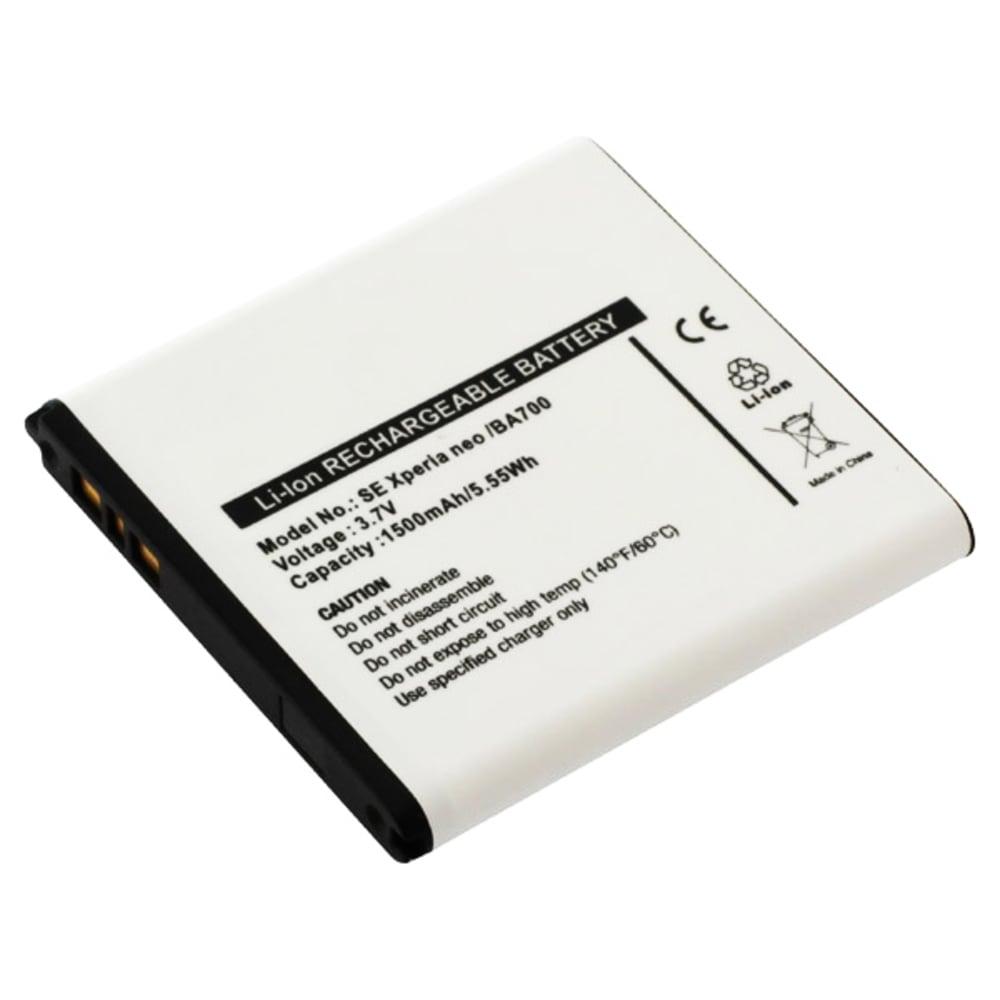 Akku kännykkään Sony Xperia E / E Dual / Tipo / Tipo Dual / Miro / Ray / Neo / Neo V / Pro - BA700, 1500mAh, 3.6V - 3.7V vaihtoakku