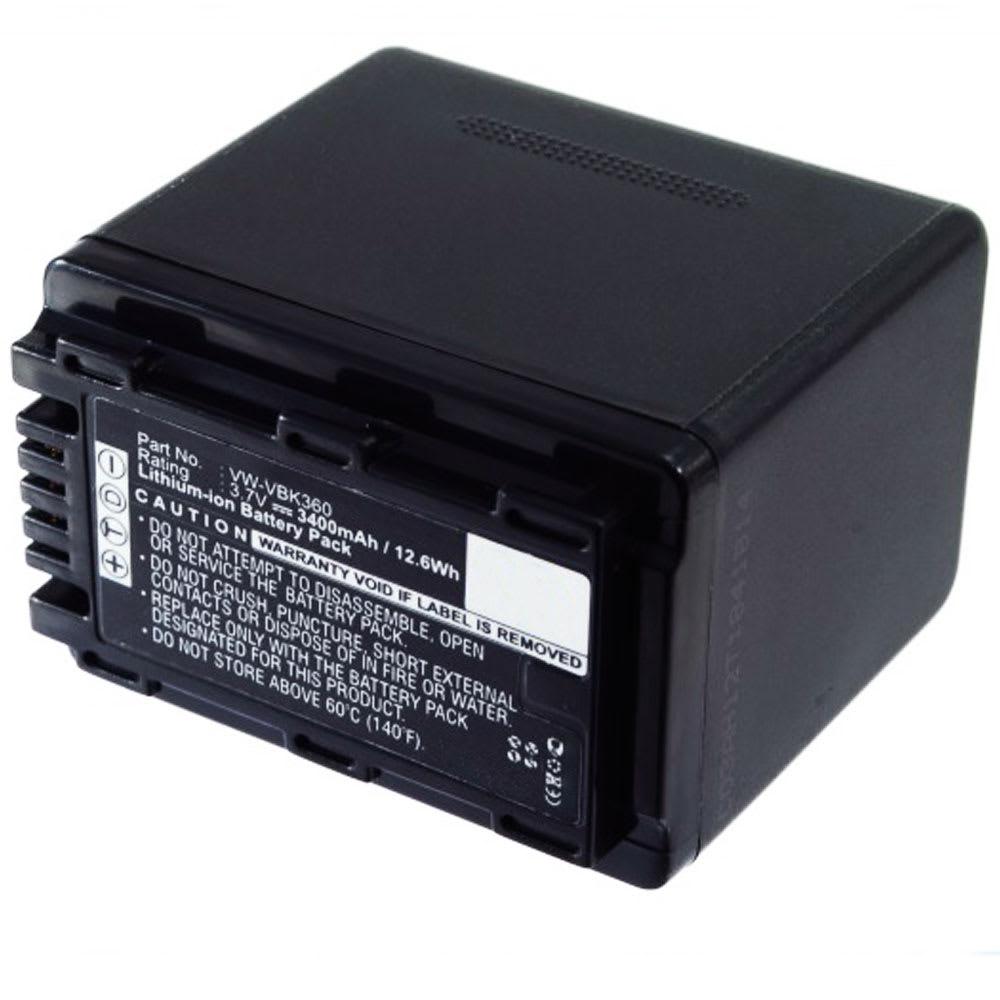 Batteri for Panasonic HDC-SD40 -SD80 -SD66 -SD99 -SD60 -SD90 -HS60 -SDX1 SDR-S50 -S70 -H85 HC-V10 - VW-BC10 VW-VBK180 VW-VBK360 VW-VBL090 3400mAh , reservebatteri