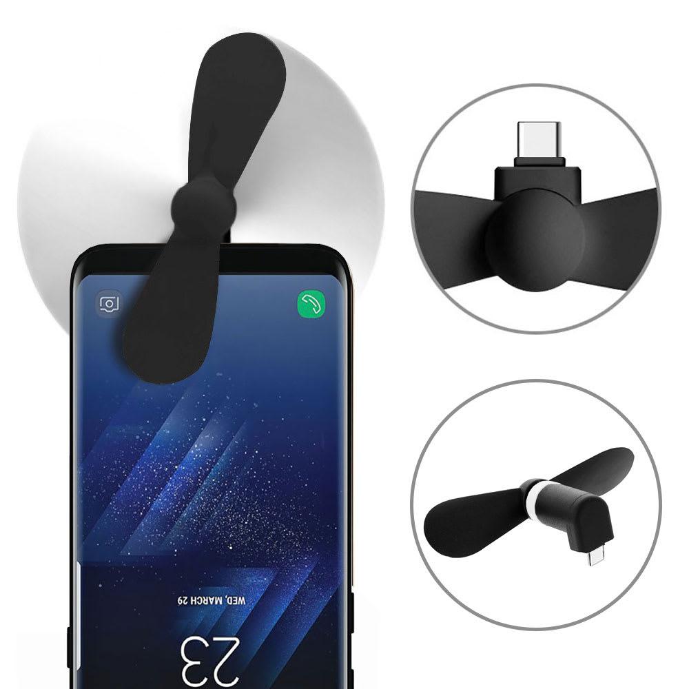 Mini Ventilateur Portable de Téléphone USB Type C pour Smartphone, Tablette, Notebook | avec USB OTG on-the-go