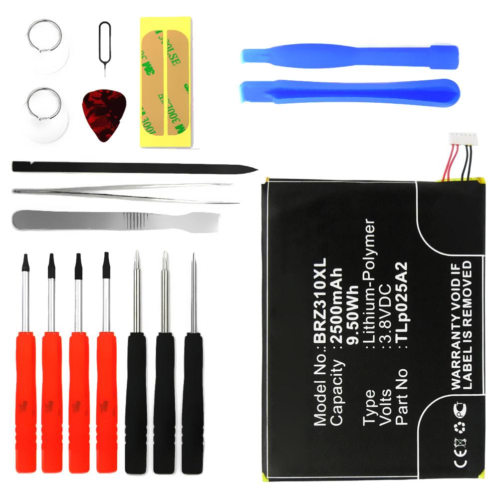 Batterie pour téléphone portableBlackBerry Z3 - TLp025A2, 2500mAh interne neuve + Set de micro vissage, kit de remplacement / rechange