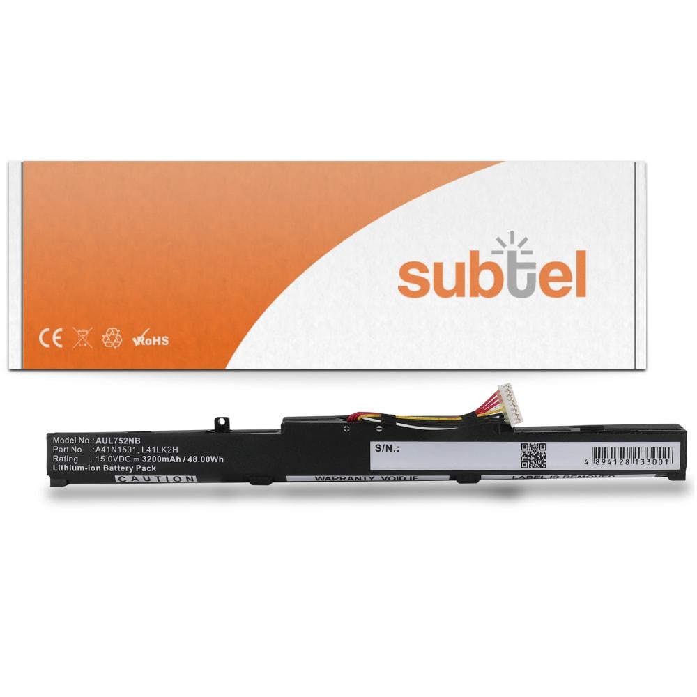 Batterie de remplacement pour ordinateur portable Asus ROG GL752JW / GL752VW / GL752VL / N552V / N552VW / N552VX - A41N1501 3200 mAh
