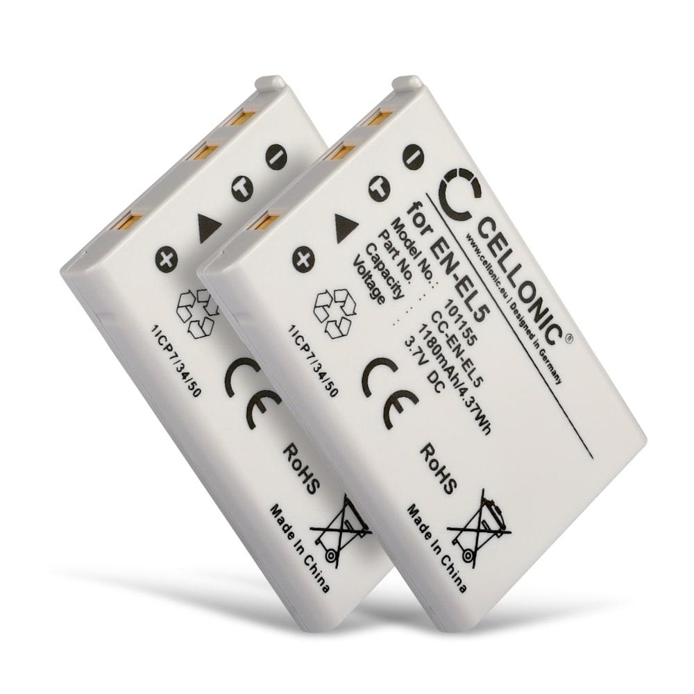 2x Batterie pour appareil photo Nikon CoolPix P510 P520 P530 P500 P100 P90 P80 P6000 P51000 P4 P3 CoolPix S10 CoolPix 3700 7900 5900 5200 4200 - EN-EL5 1180mAh ENEL5 Batterie Remplacement