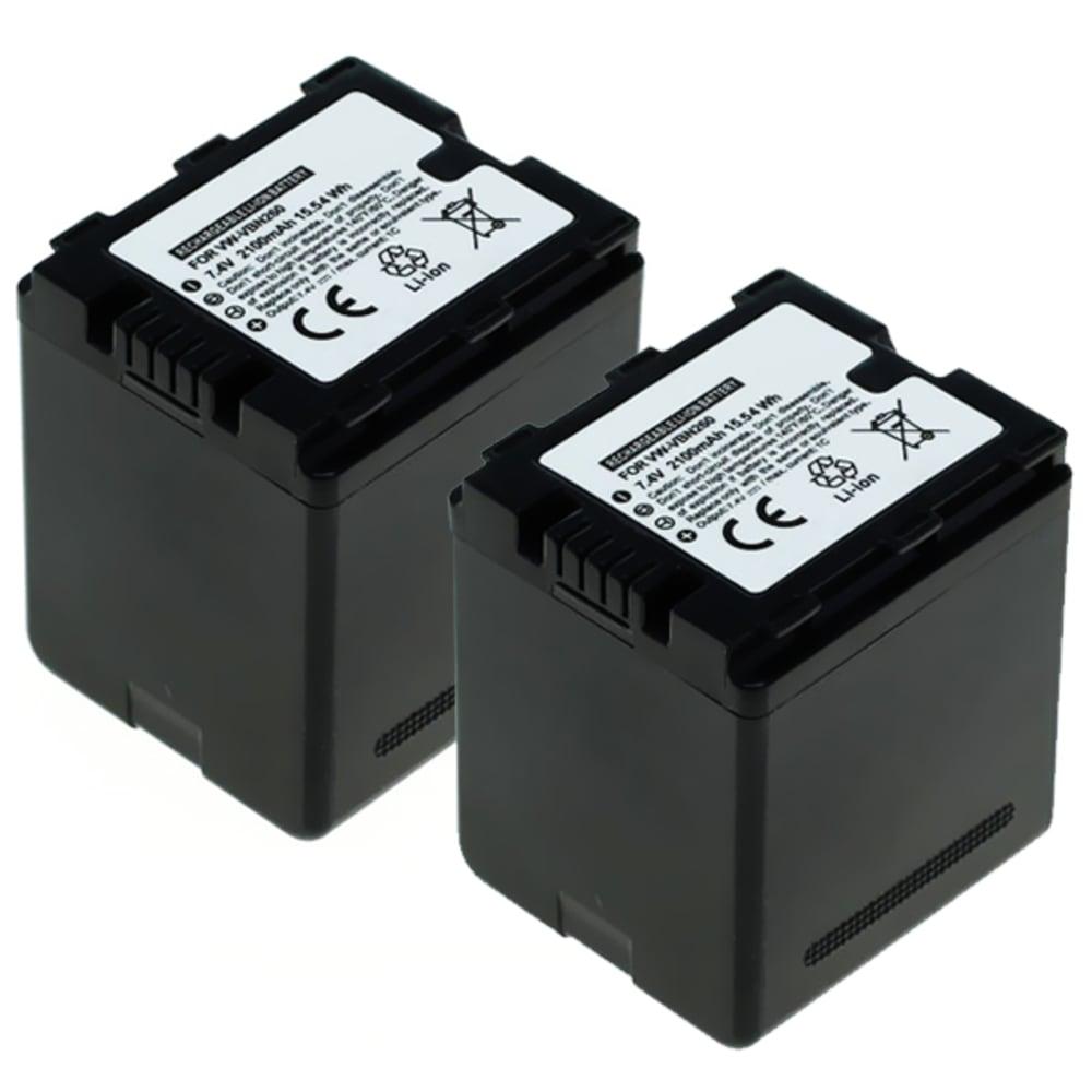 2x Batterie pour appareil photo Panasonic HC-X800,-X810, HC-X900, -X909, HC-X910, HC-X920, -X929, HDC-HS900, HDC-SD800, HDC-SD900, -SD909, HDC-TM900 - VW-VBN130,VW-VBN260,VW-VBN390 2100mAh Batterie Remplacement