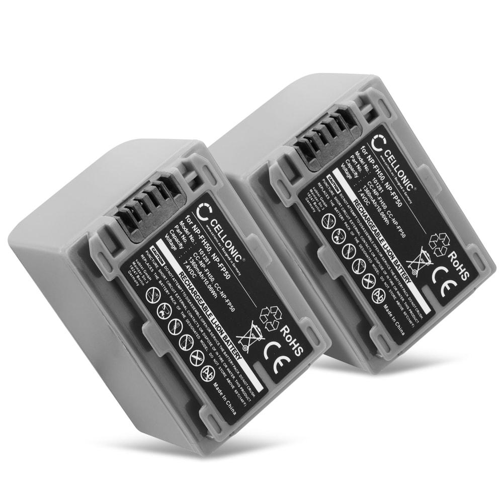 2x Batterie pour appareil photo Sony HDR-HC3 DCR-HC26 -HC20 -HC21 -HC23 -HC28 -HC30 -HC32 -HC36 -HC40 -HC96 DCR-DVD105 -DVD92 DCR-SR40 -SR80 -SR100 - NP-FP50 NP-FH50 FH30 FH70 1360mAh Batterie Remplacement