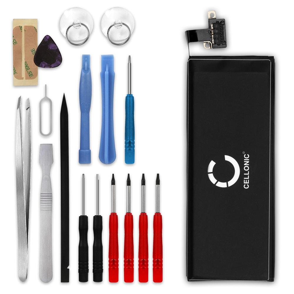 Batterie pour téléphone portableApple iPhone 4S (A1387 / A1431 / A1387) - 616-0579, 1350mAh interne neuve + Set de micro vissage, kit de remplacement / rechange