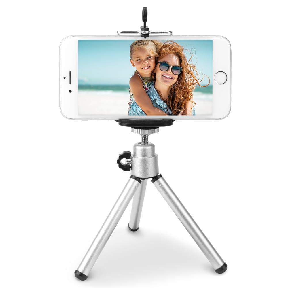 Reisestativ - Kleines, leichtes Handy Stativ 360° drehbar für Smartphone 5.5 - 8cm, ausziehbar 13 - 22cm, beweglicher Kopf, Kamera Fotostativ oder Camcorder Videostativ