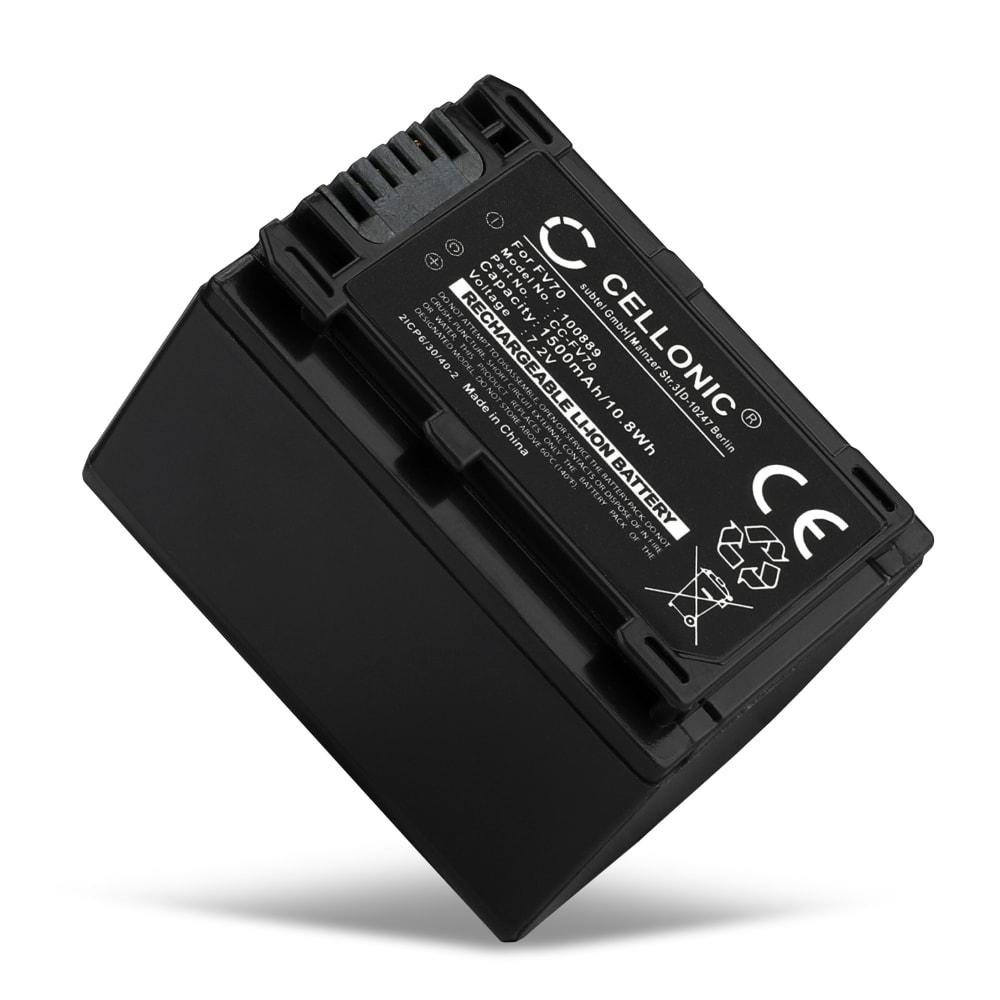 Batteria per Sony FDR-AX100 HDR-CX900 HDR-PJ540 NEX-VG900 NEX-VG30 (1500mAh) NP-FV70