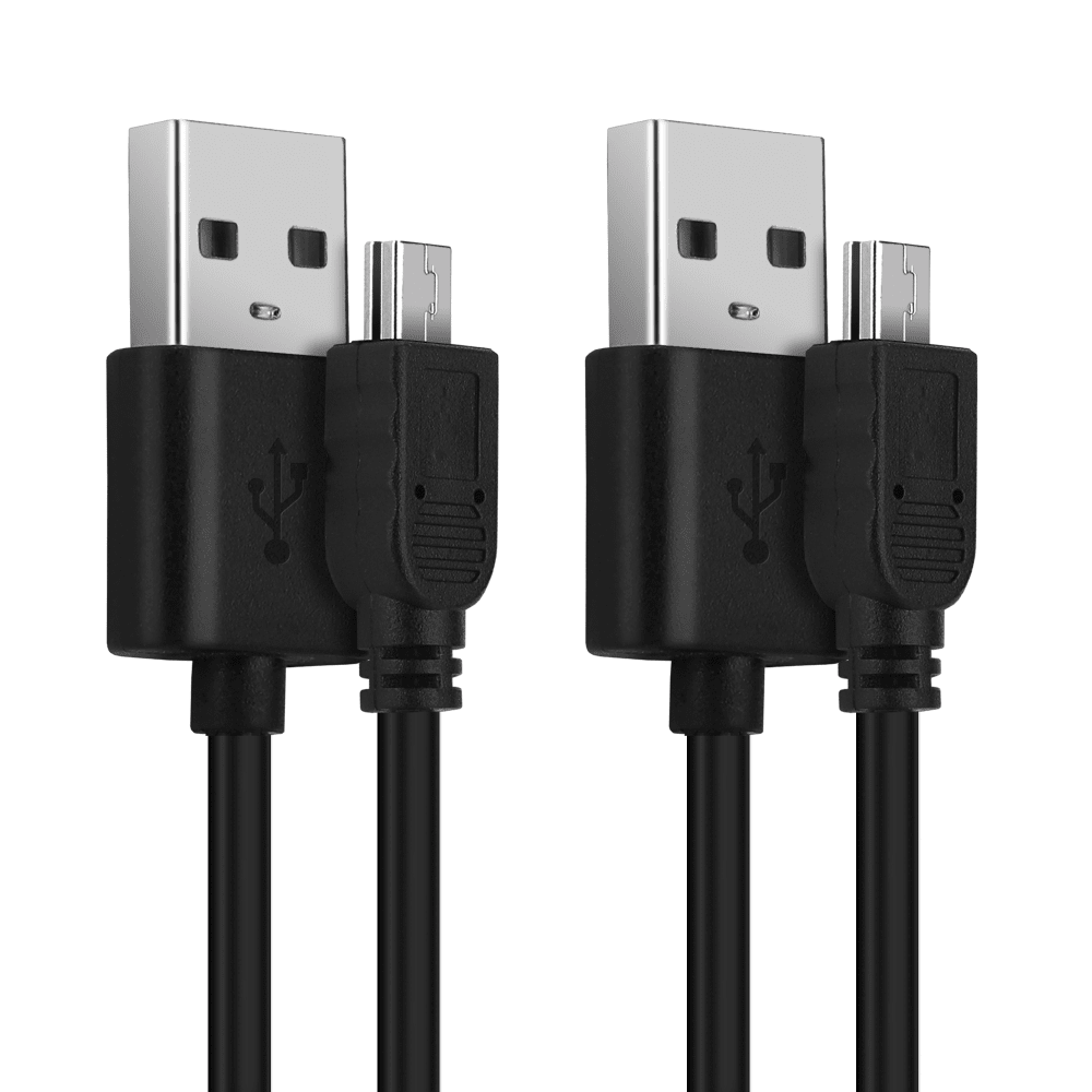 2x USB Kabel für Garmin Edge, Drive, DriveAssist, DriveSmart, Nüvi, Oregon, eTrex, GPSMAP - Ladekabel 1m 2A PVC Datenkabel schwarz