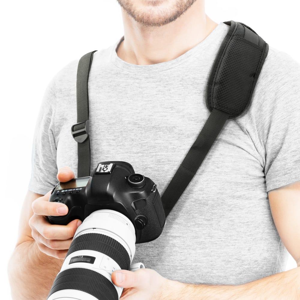 Sangle universelle rembourrée pour appareil photo, avec vis de blocage rapide pour trépied - longueur réglable : max 1,50 m sangle d'épaule de couleur noir