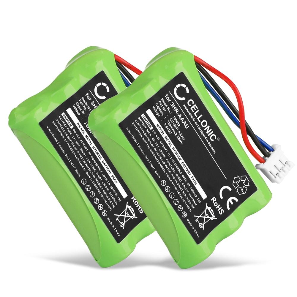 2x Ersatz Akku für Bang & Olufsen BEOCOM 6000 - Telefonakku 3HR-AAAU,70AAAH3BMXZ,T373 700mAh Ersatzakku, Batterie