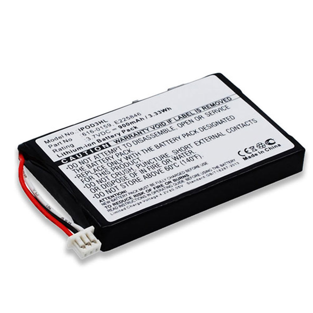 616-0159, E225846 Battery for Apple iPod 3 Gen. A1040 (900mAh) Spare Battery Replacement
