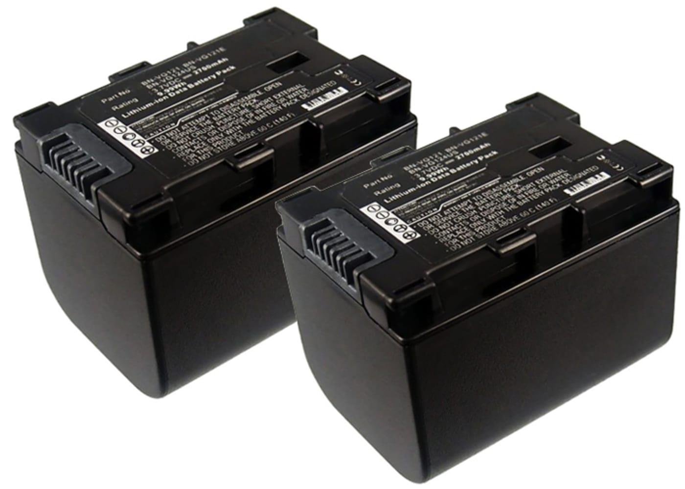2x Batterie pour appareil photo JVC GZ-E15, GZ-EX315, -EX215, GZ-HM550, -HM30, -HM310, -HM330, GZ-HD620, GZ-MG750, GZ-MS110, -MS210 - BN-VG107 -VG108 -VG114 -VG121 2700mAh Batterie Remplacement