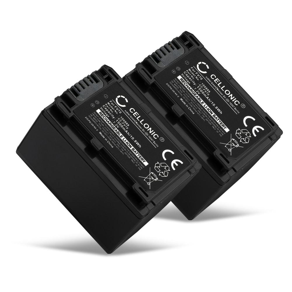 2x Batterie pour appareil photo Sony FDR-AX53 FDR-AX33 FDR-AX100E, HDR-CX280 HDR-CX305 HDR-CX425 HDR-CX570 HDR-CX625 HDR-CX730 HDR-CX900, HDR-PJ530 HDR-PJ650 HDR-PJ810, HDR-XR155, HDR-TD10, DCR-SX34, NEX-VG900, DEV-50 - NP-FV70,NP-FV100 1500mAh NP-FV70 Batterie Remplacement