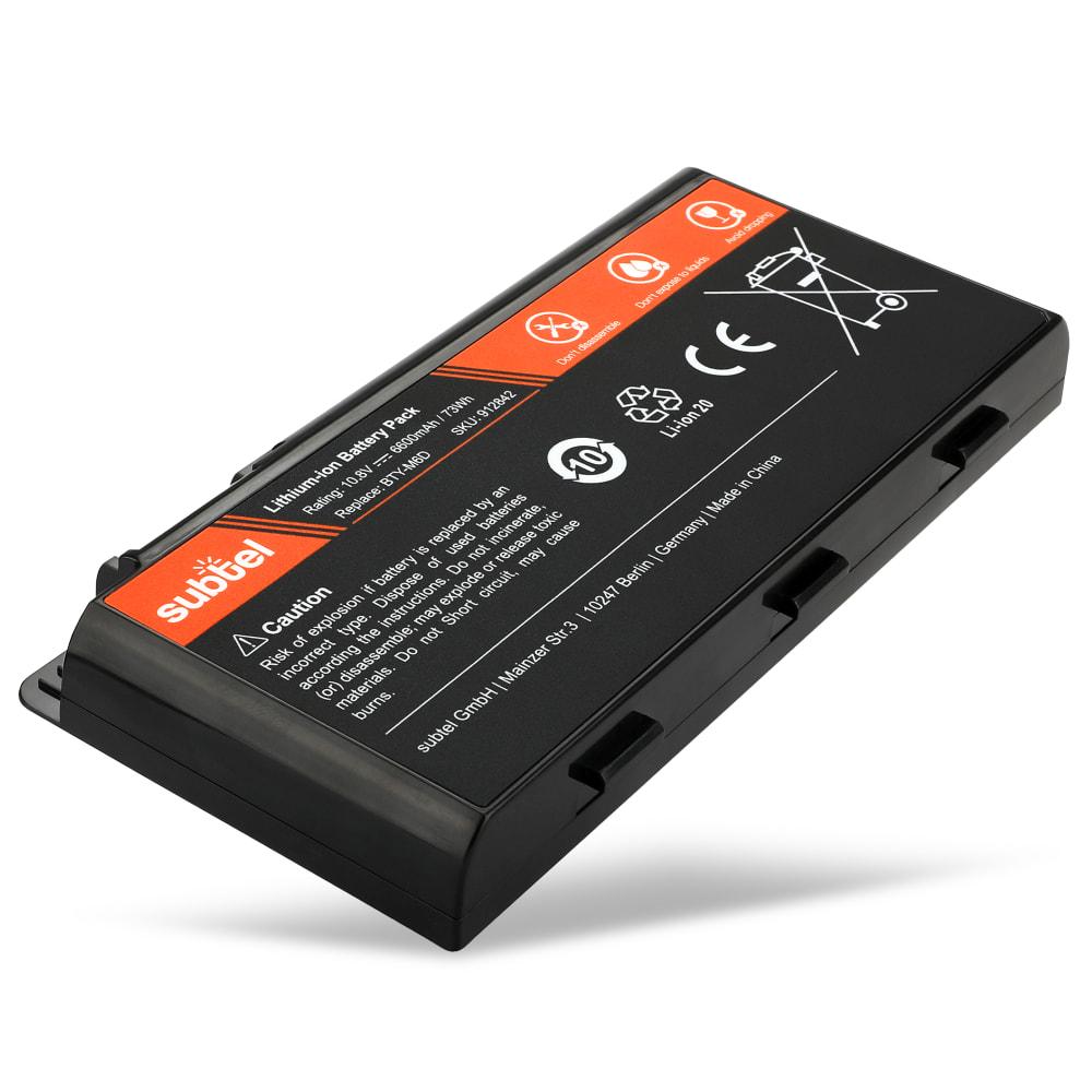 subtel® Laptop Battery for MSI GT60 / GT70 / GT660 / GT680 / GT760 / GT780 / GX60 / GX660 / GX680 BTY-M6D 6600mAh Notebook Replacement Battery Power Bank