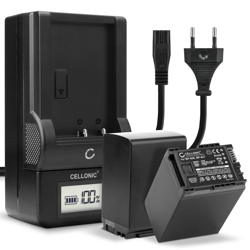 2x Batterie pour appareil photo Canon XA10 HG10 HG20 HF10 HF100 HF200 FS10 Vixia HF G20 G10 HF20 HF S100 S200 HF M40 - BP-808 BP-827 2600mAh + Chargeur CG-800 Batterie Remplacement