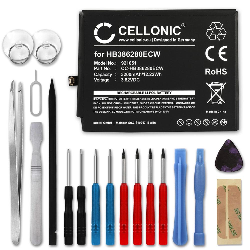 Batterie pour téléphone portableHuawei P10 / Honor 9 - HB386280ECW, 3200mAh interne neuve + Set de micro vissage, kit de remplacement / rechange