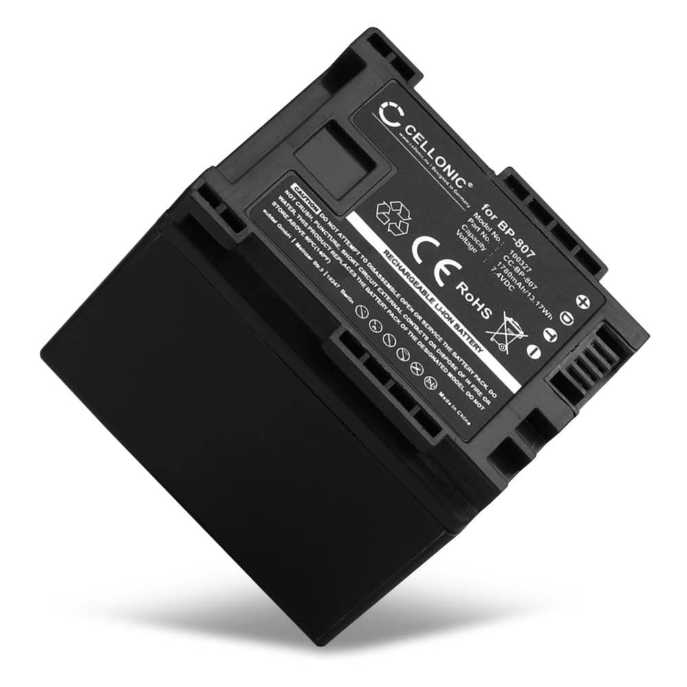 BP-807,-808,-809,-819,-827 Battery for Canon LEGRIA HF G10 G25 HF20 HF21 HF200 HG20 HG21 HF M31 1780mAh Digital Camera Battery Replacement Spare Battery Backup Power Pack