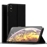 Flipcase Apple iPhone Xs Max Book Case Portemonnee Hoesje Flip Hoesje Book Cover Flip Wallet Flip Armor Zwart