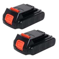 2x Batteri 18V, 2Ah, Li-Ion til Black & Decker ASL186K, BDCCS18, BL186K, BL188K, EGBL18, EGBL188K, GKC1000L, STC1815 - LB20/ LBX20 / LBXR20 udskiftsningsbatteri