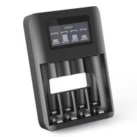Cargador de pilas recargables AA y AAA USB de CELLONIC® con 4 compartimentos de carga | Cargador inteligente con pantalla LCD para control de carga y protección anti sobrecargas