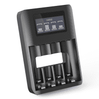 CELLONIC® Cargador de pilas recargables AA y AAA USB con 4 compartimentos de carga | Cargador de pilas y protección ante sobrecargas