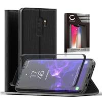 Etui + Protection d'écran en verre pour Samsung Galaxy S9 Plus (SM-G965) - Cuir PU, noir Etui,Housse, Coque, Pochette