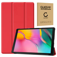 Case + Screen protector glass for Samsung Galaxy Tab A 10.1 2019 (SM-T510 / SM-T515) - synthetic Leather, Red Case