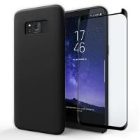 Hoesje + Displaybeschermglas voor Samsung Galaxy S8 (SM-G950 / SM-G950F) - Siliconen, zwart Tasje, Zakje, Zak, Hoesje